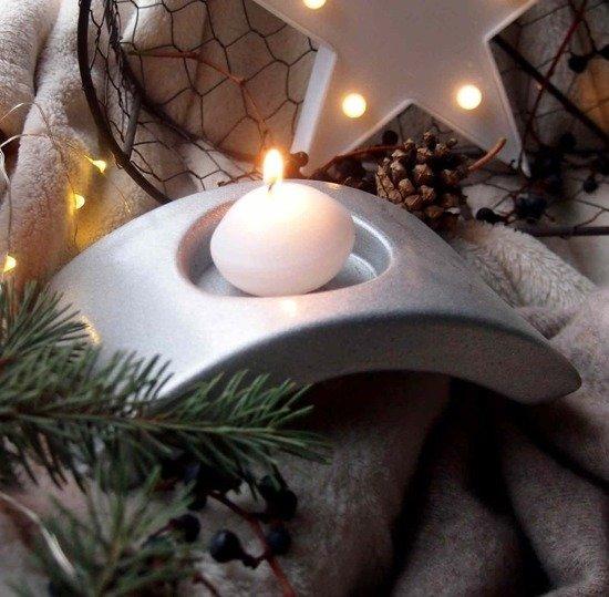 Świecznik świąteczny podstawek na świece - Srebrny