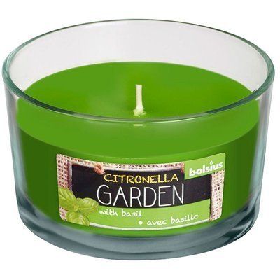 Bolsius Citronella Garden scented candle in glass 62/106 mm - Citronella Basil