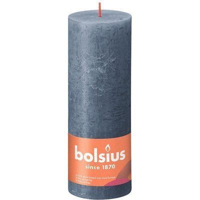 Bolsius Rustic Shine unscented solid pillar candle 190/68 mm 19 cm - Midnight Blue