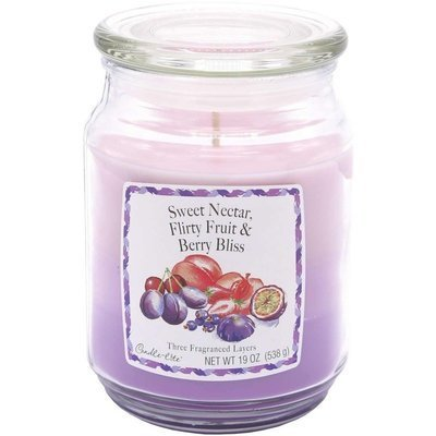 Candle-lite 3-Layer Collection Scented Glass Jar Candle 19 oz 538 g - Sweet Nectar, Flirty Fruits, Berry Bliss