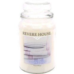 Candle-lite Revere House Large Jar Glass Scented Candle 23 oz 652 g - Clean Linen \ Pure Cotton
