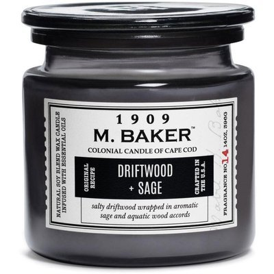 Colonial Candle M. Baker large soy scented candle apothecary jar 14 oz 396 g - Driftwood & Sage