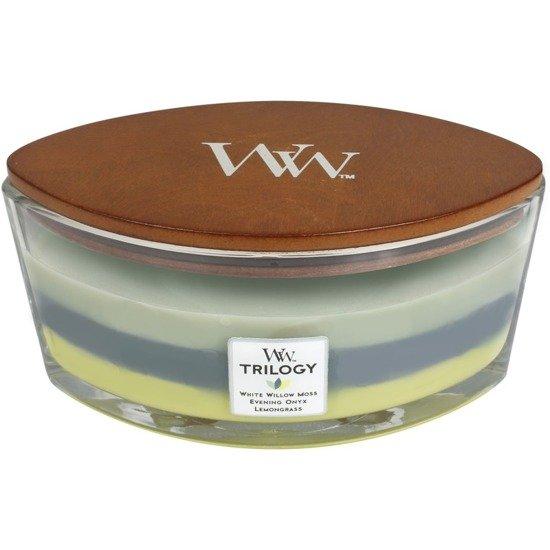 WoodWick Core Heartwick Trilogy Candle świeca zapachowa z drewnianym knotem w szkle łódka trójzapachowa ~ 60 h - Woodland Shade
