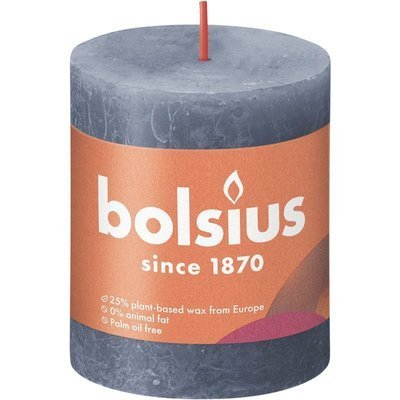 Bolsius Rustic Shine unscented solid pillar candle 80/68 mm - Midnight Blue