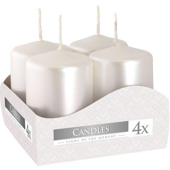 Bispol votive unscented solid candle set 4 pcs 60/38 mm - White Pearl