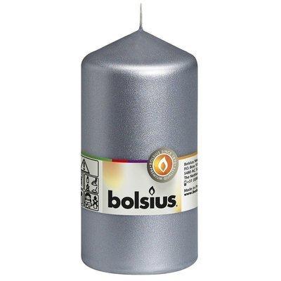Свеча Bolsius pillar block, традиционная, без запаха 13 см 130/68 мм - Silver